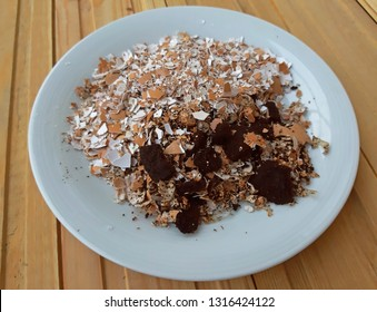 Eggshells with coffee grounds Natural fertilizer concept