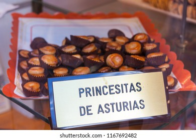"Egg-yolk-filled marzipans called ""Princesitas de Asturias"" (Princesses of Asturias) for sale in Oviedo, Asturias, Spain"
