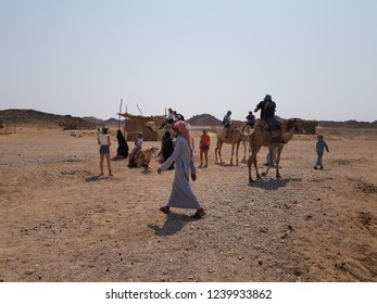 Egipt, Hurghada, September, 2018, An image showing the cohabitation of men and camels.