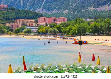 Egirdir Altinkum beach. It is a safe beach with its shallowness without exceeding human height even at 200 meters away from the shore. Isparta-Turkey June 2018