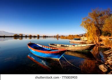 Egirdir, Isparta - Turkey. November 23, 2015. Egirdir Lake and Fisherman Life, Isparta - Turkey.