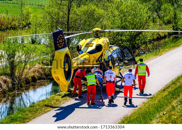 Egling, Germany - April 23: rescue workers during a mission near the isar river in egling on April 23, 2020