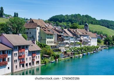 Eglisau, Switzerland, 05.27.2020, Eglisau is a medieval city at the Rhine river