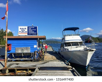 Egmont, British Columbia, Camada - July 3rd, 2018: A power boat gassing up with diesel fuel at egmont marina, in beautiful British Columbia, Canada.  The cost of diesel limits many from boating.