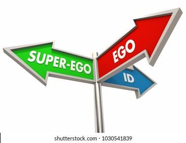 Ego Id Super-Ego Mental States Stages Identity Signs 3d Illustration