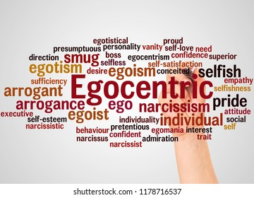Egocentric word cloud and hand with marker concept on gradient  background.