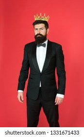 Egoist. Businessman in tailored tuxedo and crown. Bearded man egoist in tuxedo and bow tie. Big boss. Formal event. King crown - egoist symbol. Formal wear male fashion. egoist man groom in suit.