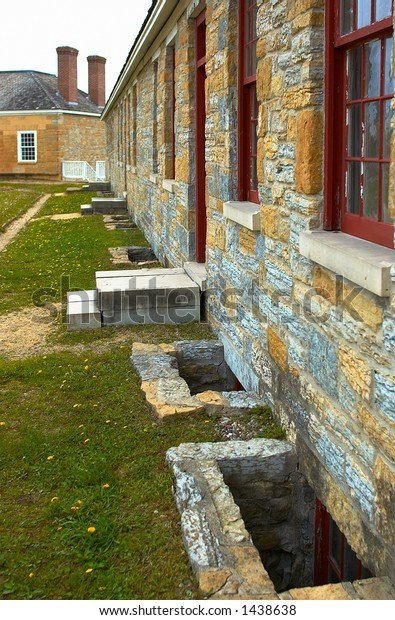 Egress windows along barrack at Fort Snelling in 1820s. More with keyword Series08D.