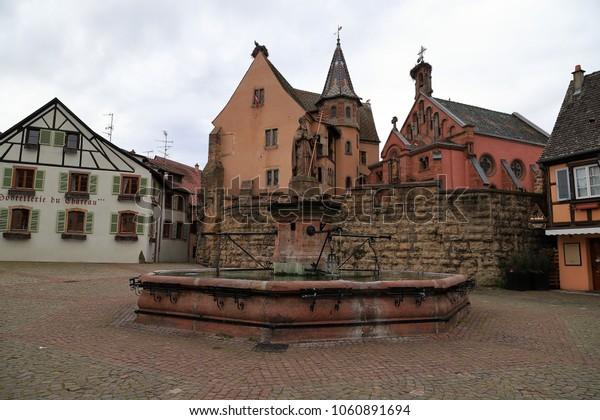 Eguisheim, Alsace/France - 03/09/2018: View of Château Saint-Léon, Saint-Leon Square