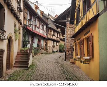 EGUISHEIM, FRANCE - APRIL 9: An old town of Eguisheim, France on April 9, 2018