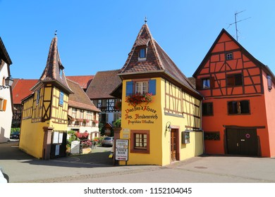 Eguisheim, France - July, 11, 2018: street in the historic centre of the town