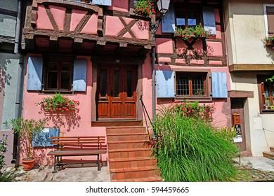 Eguisheim, France - july 23 2016 : the historical village in summer