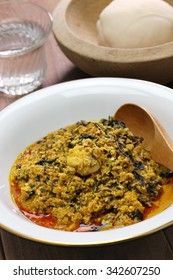 egusi soup and pounded yam, nigerian cuisine
