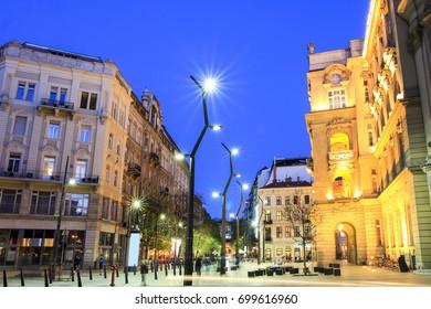 Egyetem Square in Budapest Downtown at dusk