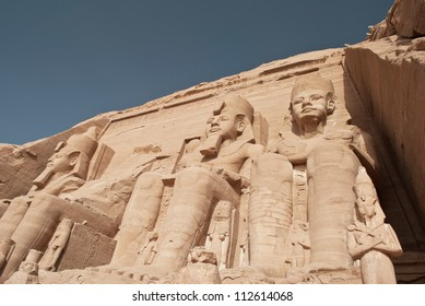 Egypt. Abu Simbel Temple of Rameses II (The Great Temple) situated on the western bank of Lake Nasser.
