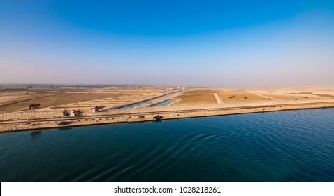 Egypt, Africa, Suez canal landscape.