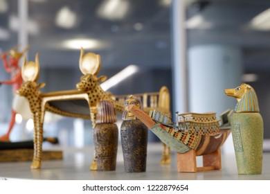 Egypt Artifacts Gold Display Mini figures Boat Sphinx Pharoah