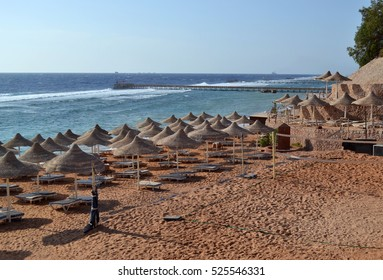 Egypt beach with straw umbrellas and  sunbeds. Red sea, Sharm el Sheikh, Egypt.