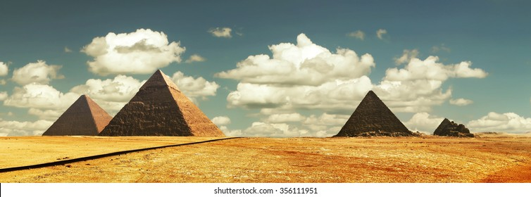 Egypt Cairo Giza. General view of pyramids from the Giza Plateau(the Pyramid of Chufu Cheops, Khafre, Menkaure Mykerinos and one of the small pyramids known as Queens' Pyramids) high resolution