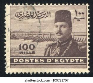 EGYPT - CIRCA 1952: stamp printed by Egypt, shows King Farouk, circa 1952.