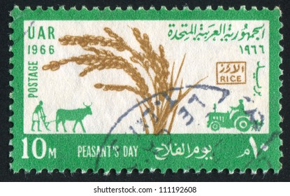 EGYPT - CIRCA 1966: stamp printed by Egypt, shows, plougher, tractor, circa 1966