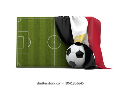 Egypt country flag draped over a football soccer pitch and ball. 3D Rendering