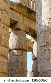 Egypt, detail of antique Columns with caved hieroglyphs in the Karnak temple in Luxor