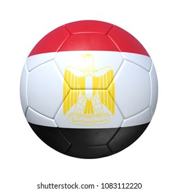 Egypt Egyptian soccer ball with national flag. Isolated on white background. 3D Rendering, Illustration.