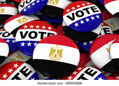 Egypt Elections Concept - Egyptian Flag and Vote Badges 3D Illustration