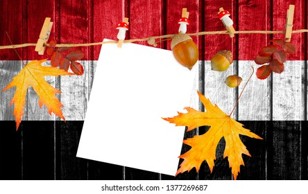 Egypt flag on autumn wooden background with leaves and good place for your text.