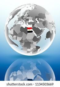 Egypt with flag on globe reflecting on shiny surface. 3D illustration.