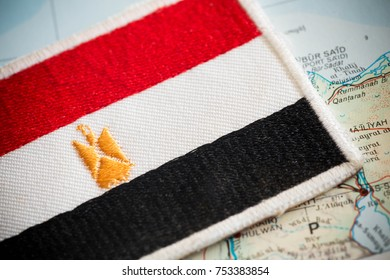 Egypt flag on map