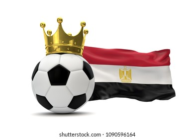 Egypt flag and soccer ball with gold crown. 3D Rendering