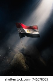 Egypt flag standing with triumph after a disaster.