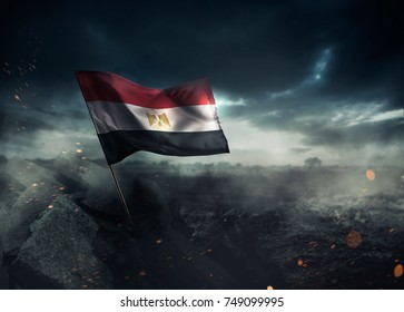 Egypt flag waving with hope after a disaster.