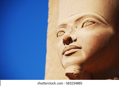 Egypt. Luxor. Karnak temple. Detail of bust of Pharaoh Tutankhamun in one of the precincts