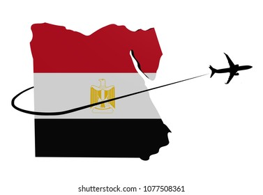 Egypt map flag with plane silhouette and swoosh 3d illustration
