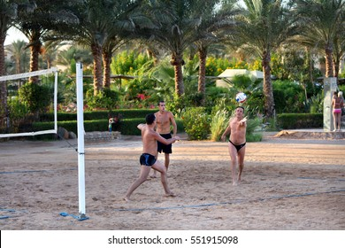 Egypt - October 26.2009: Men playing beach volleyball