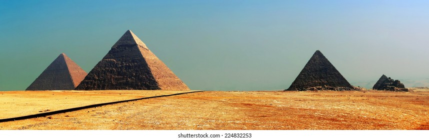 Egypt panorama pyramid with high resolution. Pyramids of ancient Egypt. Sand pyramid. Icon pyramid. Panorama pyramids. Horizontal pyramid. Egyptian pyramid. Pyramids in the desert near the road. Cairo