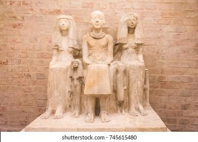 Egypt pharaoh family statue