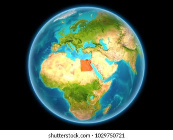 Egypt in red on planet Earth as seen from space on full sphere. 3D illustration. Elements of this image furnished by NASA.