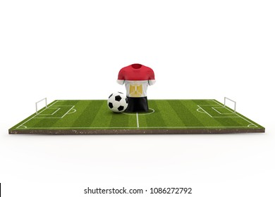 Egypt soccer shirt national flag on a football pitch. 3D Rendering