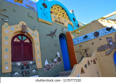 Egypt-Aswan / 15/3/2016 / the colorful houses of Nubian Village in Aswan  Egypt