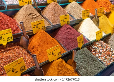 Egyptian Bazaar Market called Spices Market and the Grand Bazaar shopping place with dry spices powder and tea in Istanbul, Turkey.