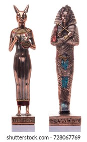 Egyptian cats and pharaon on a white background. Egyptian pharaoh Statue