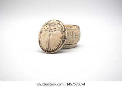 Egyptian Decor, Trinket Box open, Royal Scarab Jewelry Box, Navajo white - isolated