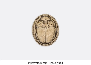 Egyptian Decor, Trinket Box, Royal Scarab Jewelry Box, Navajo white - isolated, top view