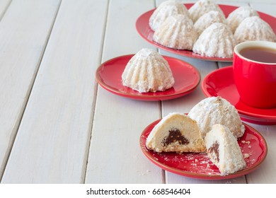Egyptian Eid Cookies (Kahk) with Tea, Horizontal, Copy Space Left