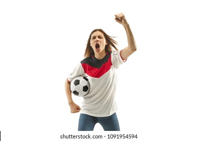 egyptian female fan celebrating on white background. The young woman in soccer football uniform as winner standing and screaming isolated at white studio. Fan, support concept. Human emotions concept.