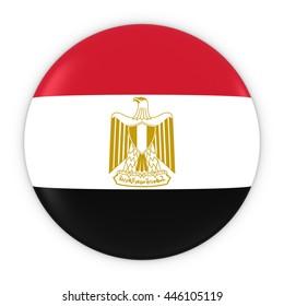 Egyptian Flag Button - Flag of Egypt Badge 3D Illustration